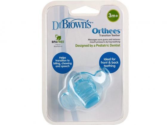 Прорезыватель Dr.Brown Orthees переходный с 3 месяцев голубой 11333 прорезыватель dr brown coolees успокаивающий охлаждающий