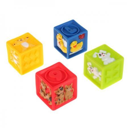 Игрушки пластизоль для купания ИГРАЕМ ВМЕСТЕ кубики с животными (4шт) в сетке в кор.4*24шт цена
