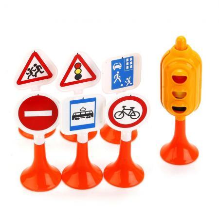 НАБОР ДОРОЖНЫЕ ЗНАКИ №1 (СВЕТОФОР, 6 ЗНАКОВ) в кор.20шт игрушка dickie toys светофор набор дорожных знаков 3741001