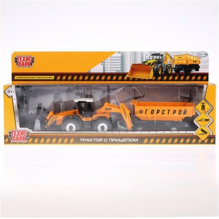 Трактор Технопарк ТРАКТОР С ПРИЦЕПОМ 28.5 см оранжевый 158A2-R dickie toys трактор fendt с прицепом