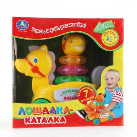Каталка Умка КАТАЛКА-ЛОШАДКА пластик от 6 месяцев на колесах желтый B876678-R каталка умка развивающая улитка зелено желтый от 1 года пластик b1240621 r