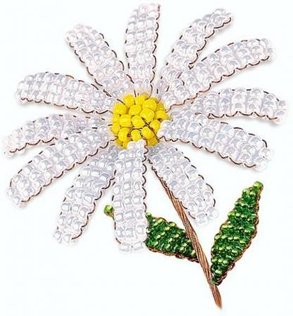 Набор для творчества Клевер Цветы из бисера Жемчужная ромашка АА 05-604 цветы семирамиды набор для творчества цветы семирамиды люпины