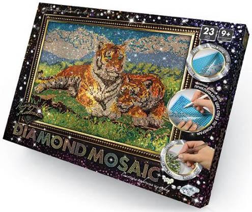 Набор креативного творчества ДАНКО-ТОЙС Diamond Mosaic - Тигры от 9 лет машинки азбука тойс мотоциклист