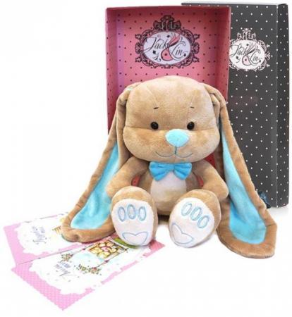 Купить Мягкая игрушка зайчик с бабочкой Jack Lin JL-014-25-КСО 25 см голубой бежевый текстиль искусственный, Игрушки