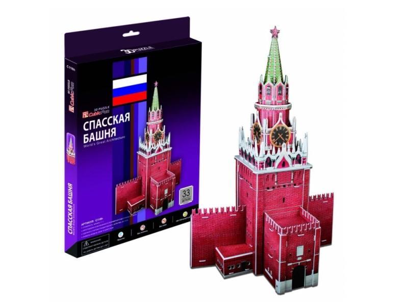 Пазл 3D CubicFun Спасская башня (Россия) 33 элемента C118H пазлы cubicfun 3d пазл эйфелева башня