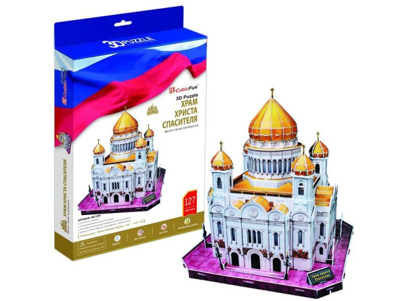 Пазл 3D CubicFun Храм Христа Спасителя (Россия) 103 элемента C205H пазл iq 3d puzzle храм христа спасителя