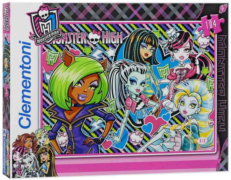 Monster High Пазл Чудовищные друзья 104 элемента 27816 цена 2017