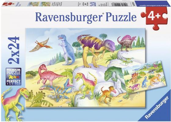 Пазл Ravensburger Красочные динозавры 2 х 24 элемента пазл ravensburger 2 в 1 филли принцесса скарлет 24 элемента 075775