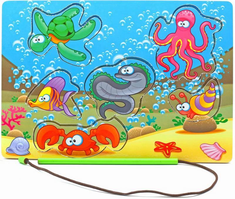 Пазл Wood Toys рамка-вкладка Магнитная рыбалка 1