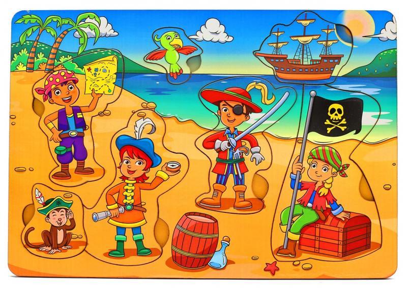 Купить Пазл Wood Toys рамка-вкладка Дети-пираты, Конструкторы, мозаики, пазлы