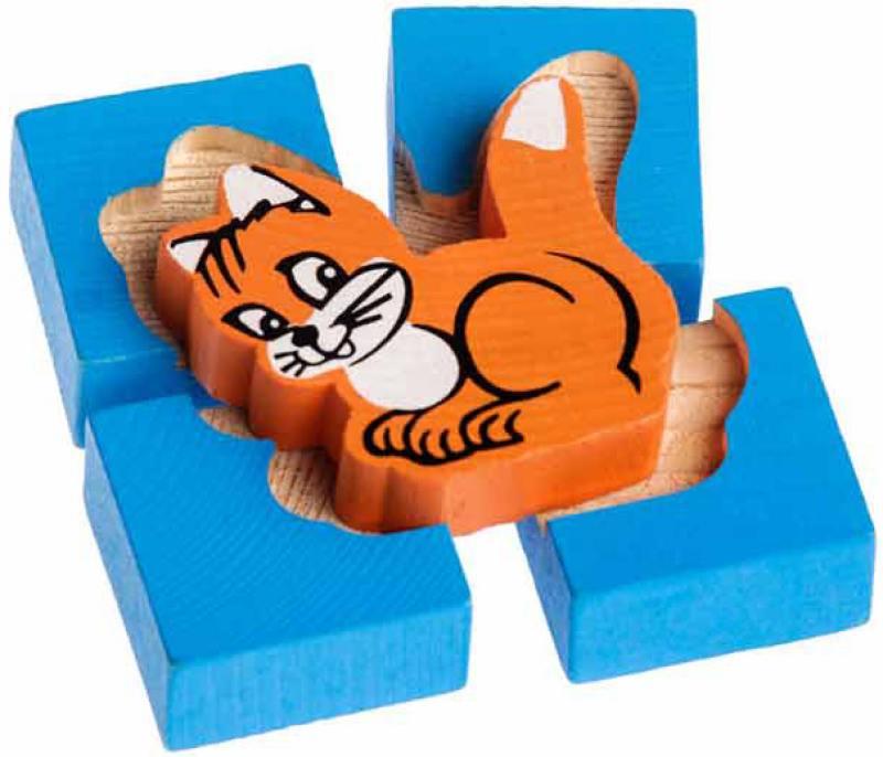 Купить Конструктор-вкладыш Томик Собирайка: Кошка 5 элементов 1-02, Конструкторы, мозаики, пазлы