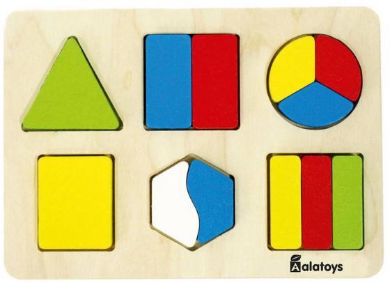 Купить Рамка-вкладыш 13 элементов alatoys Дроби-фигуры ДР1003, Конструкторы, мозаики, пазлы