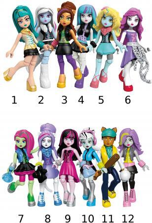 Конструктор MEGA BLOKS базовые фигурки персонажей Monster High 9 элементов CNF78 mega bloks mega bloks конструктор веселые качели