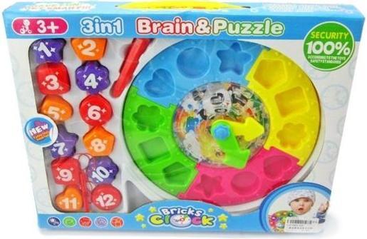 Купить Развивающая игрушка Shantou Gepai 3в1 Сортер, лабиринт, часы 520, Конструкторы, мозаики, пазлы