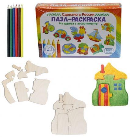 Купить Развивающая игрушка: Пазл-раскраска Хижина , Мастер игрушек, Конструкторы, мозаики, пазлы
