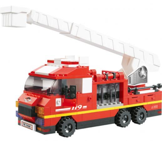 Купить Конструктор SLUBAN Пожарные спасатели - Грузовик с выдвижной лестницей 267 элементов M38-B0221, Конструкторы, мозаики, пазлы