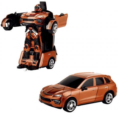 1toy Робот на р/у 2,4GHz, трансформирующийся в машину, оранжевый электромобиль 1toy порше кайен р р 120х62 5х49см т58710