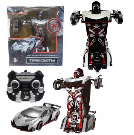 1toy Робот на р/у 2,4GHz, трансформирующийся в спортивный автомобиль, серебристый электромобиль 1toy порше кайен р р 120х62 5х49см т58710