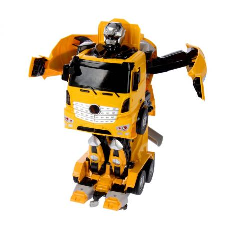 1toy робот на р/у, трансформируется в бетономешалку, со светом и звуком, 38см, коробка