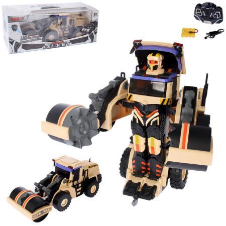 1toy робот на р/у, трансформируется в строительный каток, со светом и звуком, 38см, коробка железная дорога noname 3054 на р у со светом и звуком на батарейках