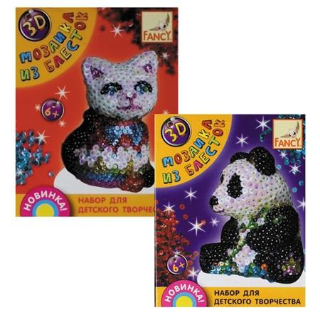 цена на Набор д/творчества 3D МОЗАИКА ИЗ БЛЕСТОК, 4 дизайна (мишка, панда, дельфин, динозавр)