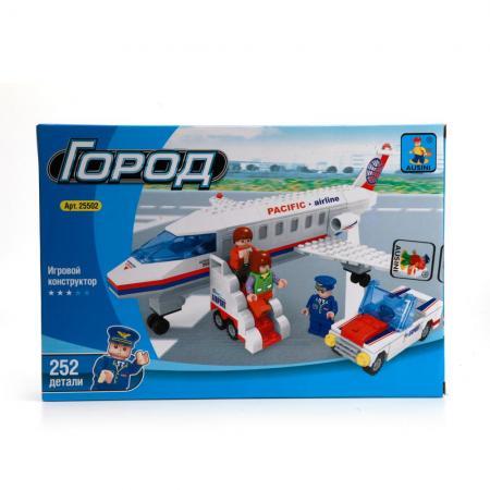 Конструктор пласт. самолет с фигурками, 252дет.