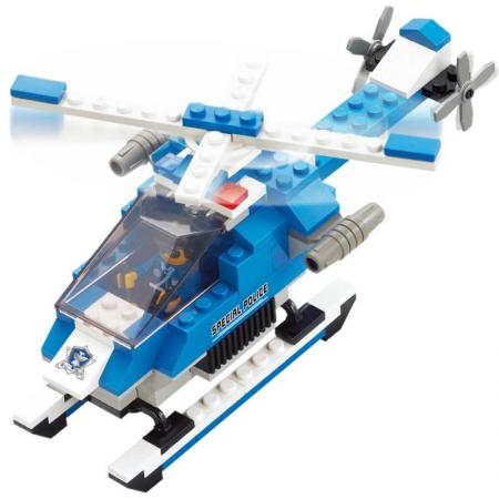 Конструктор пласт. полицейский спецназ вертолет с фигуркой, 133дет.