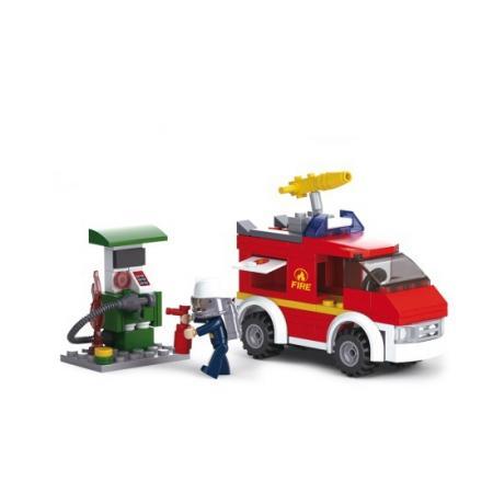 Конструктор пласт. пожарная машина с фигуркой, 136дет. в