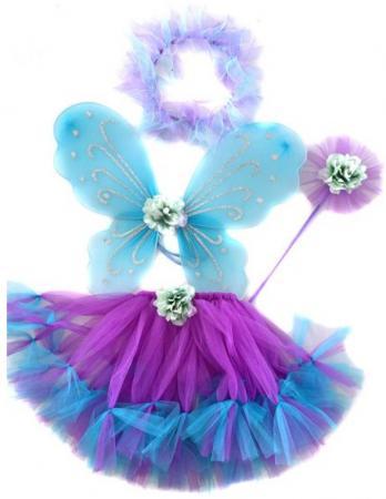 Карнавальный костюм Новогодняя сказка Фея крылья 47х37 см, юбка 30 см, венок, палочка, фиолетовый карнавальный костюм новогодняя сказка снежная королева 70 см бел ободок палочка