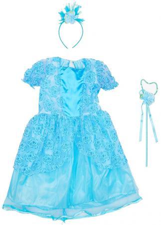 Карнавальный костюм Новогодняя сказка Зимняя принцесса 65 см, голуб., ободок, палочка карнавальный костюм новогодняя сказка снежная королева 70 см бел ободок палочка
