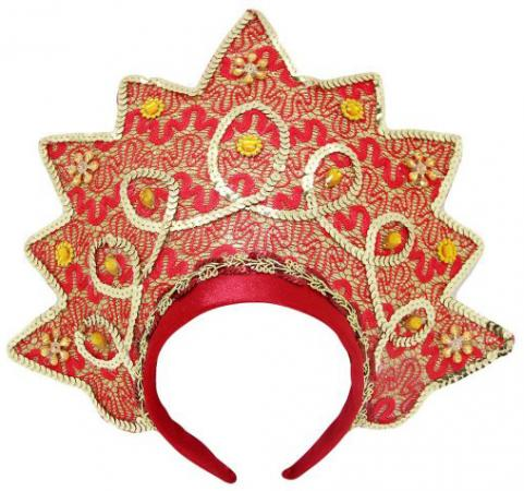 Кокошник Новогодняя сказка Корона, красный 30.5 см от 3 лет 972862 новогодняя сказка кокошник 23х30 см белый с золотым