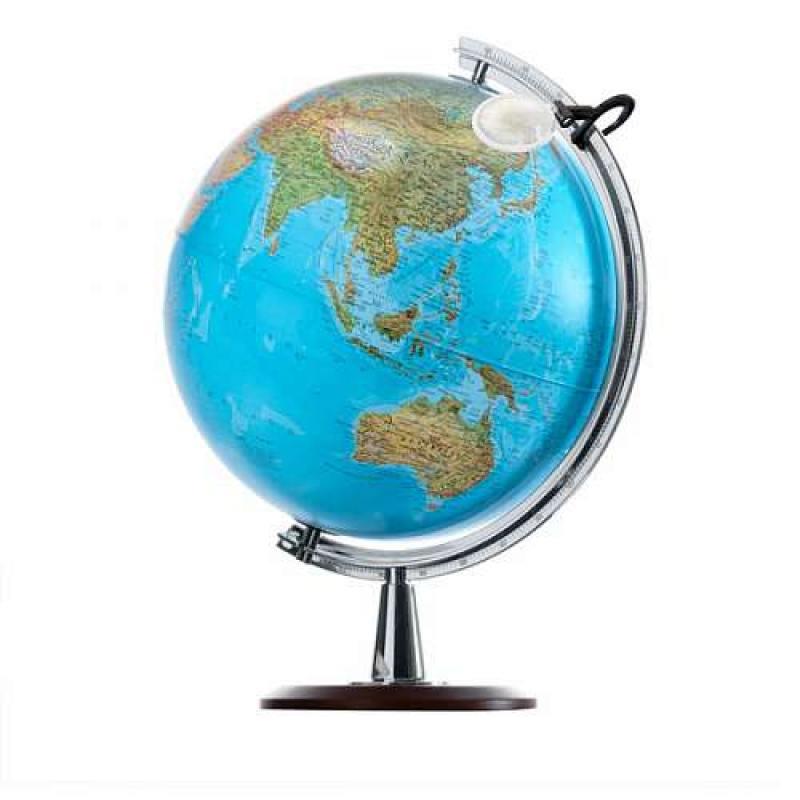 Глобус ATLANTIS с двойной картой, диаметр 40 см, новая карта, подсветка, лупа, деревянная подставка от OLDI