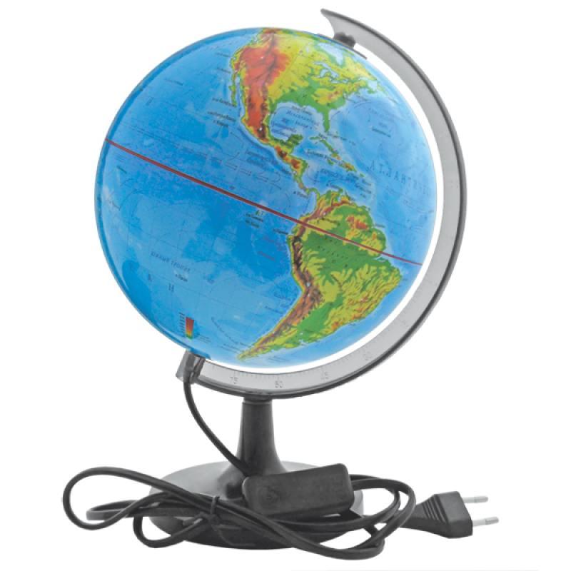 Глобус c двойной картой, политической и физической, с подсветкой, 20см от OLDI