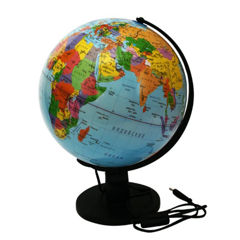 Глобус политический с подсветкой, 32см, новая карта