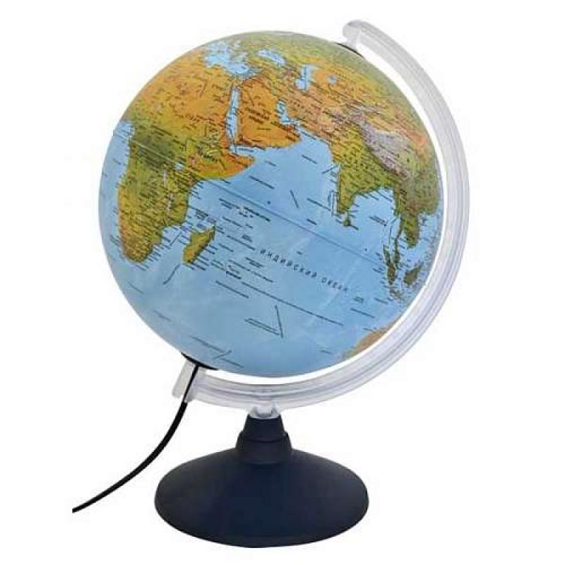 Глобус ELITE с двойной картой, диаметр 30 см, новая карта, подсветка, пласт подставка и меридиан от OLDI