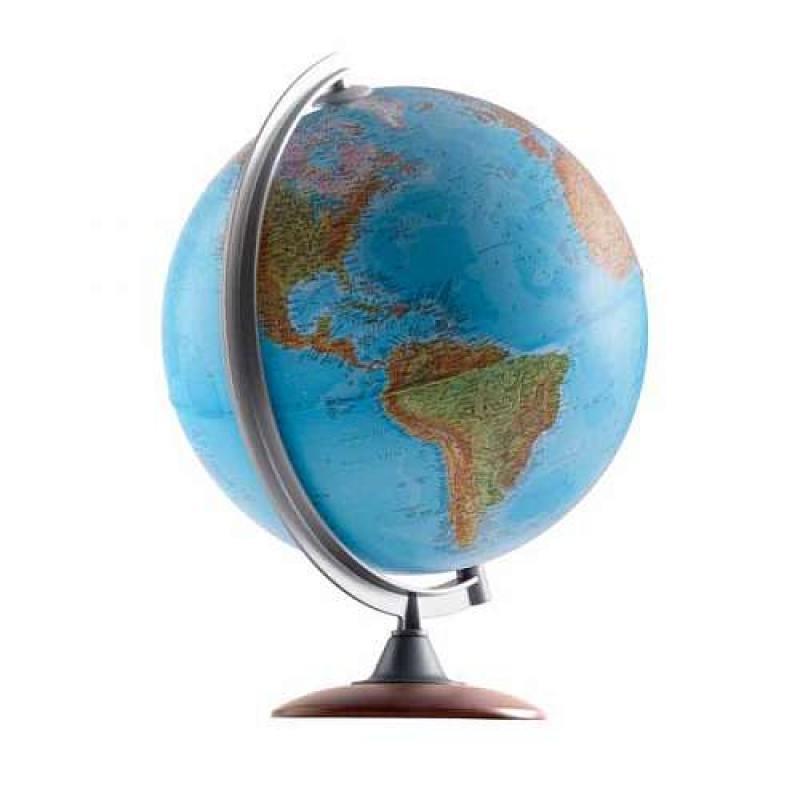 Глобус ATLANTIS с двойной картой, диаметр 30 см,новая карта, подсветка, деревянная подставка