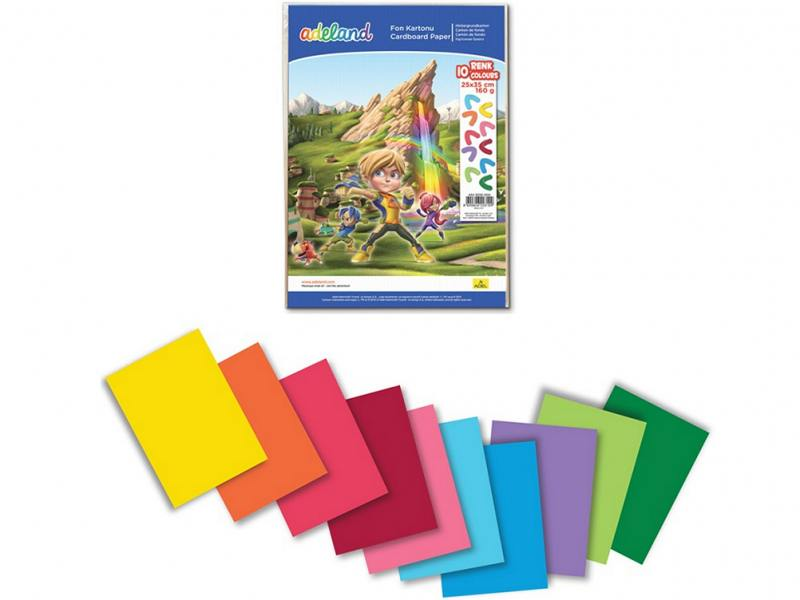 Набор цветного картона Adel 25х35см 10 цветов 10 листов 434-3030-000