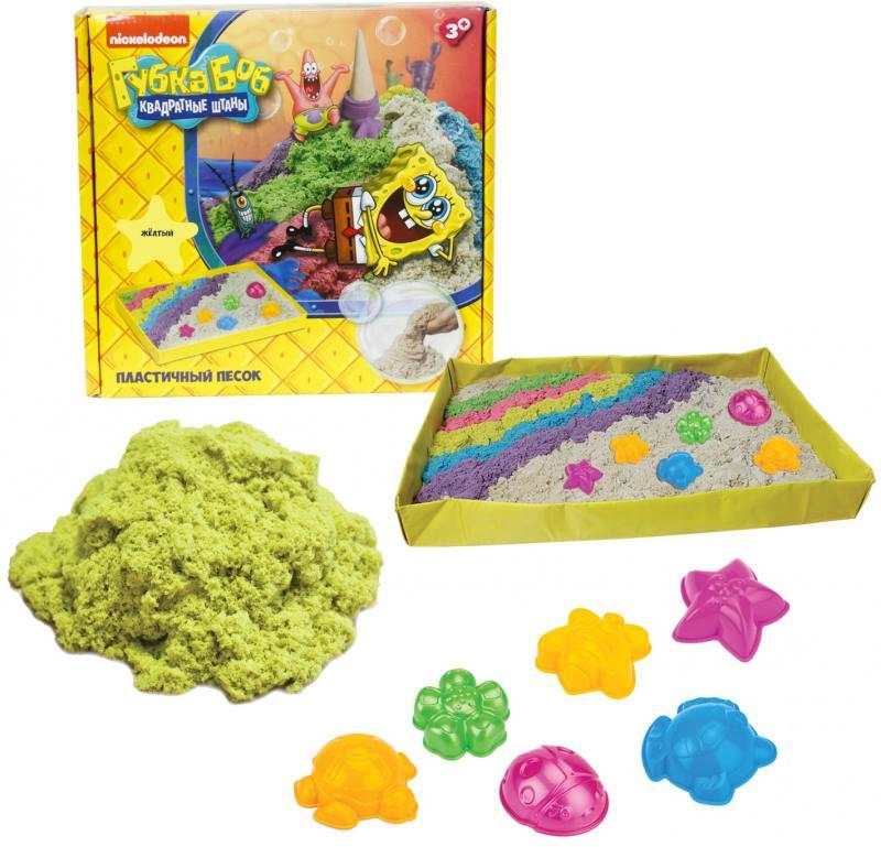 Купить 1toy Губка Боб, космический песок, жёлтый, 1 кг, набор песочница и формочки Т58202, Лепка и товары для творчества
