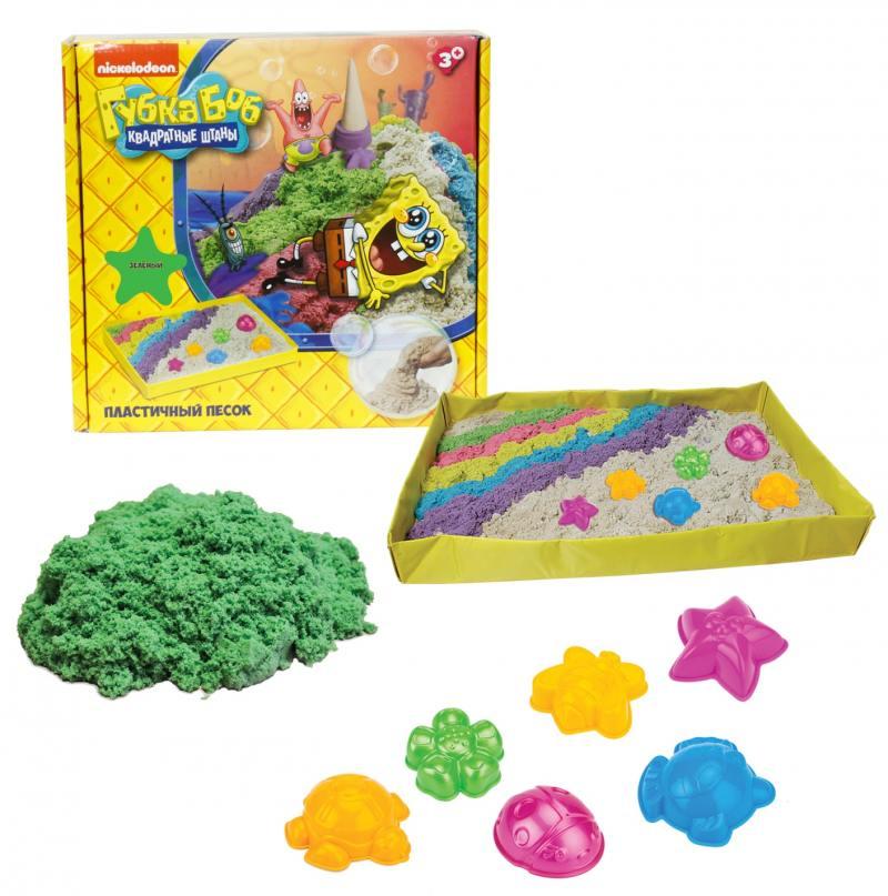 1toy Губка Боб, космический песок, зелёный, 1 кг, набор песочница и формочкиТ58201