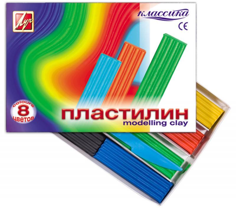 Пластилин КЛАССИКА, со стеком, 8 цв., карт уп.