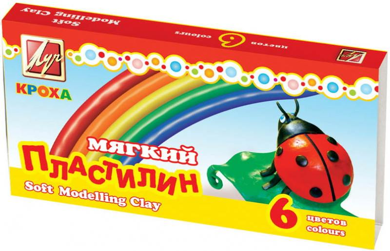 Пластилин КРОХА мягкий, 6 цв. пластилин fancy 6 цв 60 гр карт уп с европодвесом