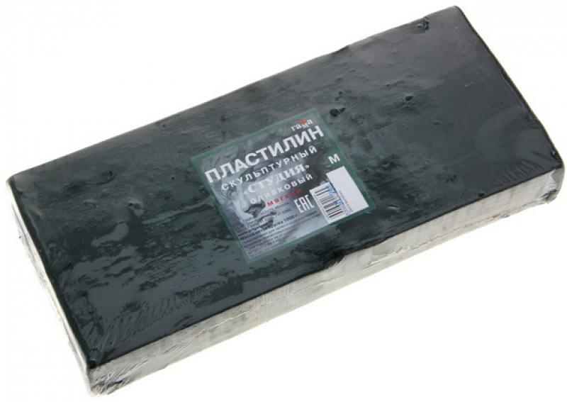 Пластилин скульптурный СТУДИЯ, оливковый, мягкий, 1 кг