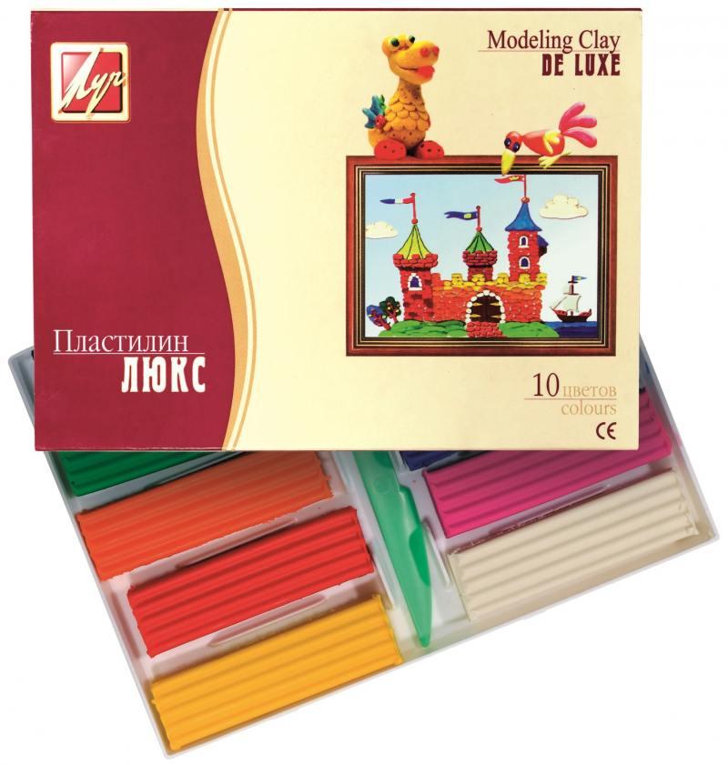 Пластилин ЛЮКС со стеком, 10 цв., карт уп., 175 г цв ol 34020 50 г