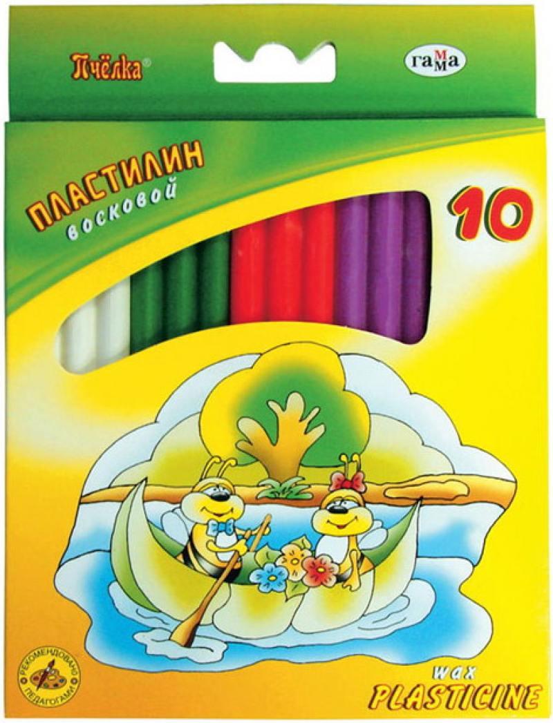 Купить Пластилин восковой ПЧЕЛКА со стеком 10 цв., 123г, картон. уп. с европодвесом, Гамма, Лепка и товары для творчества