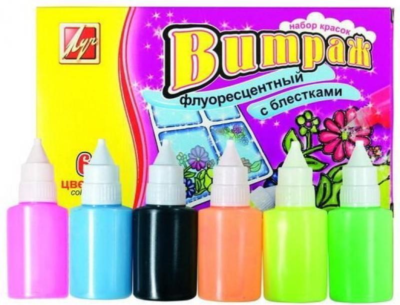Краски по стеклу ВИТРАЖ, флуоресцентный с блестками, 6 цв., 135 г. цв ol 34020 50 г