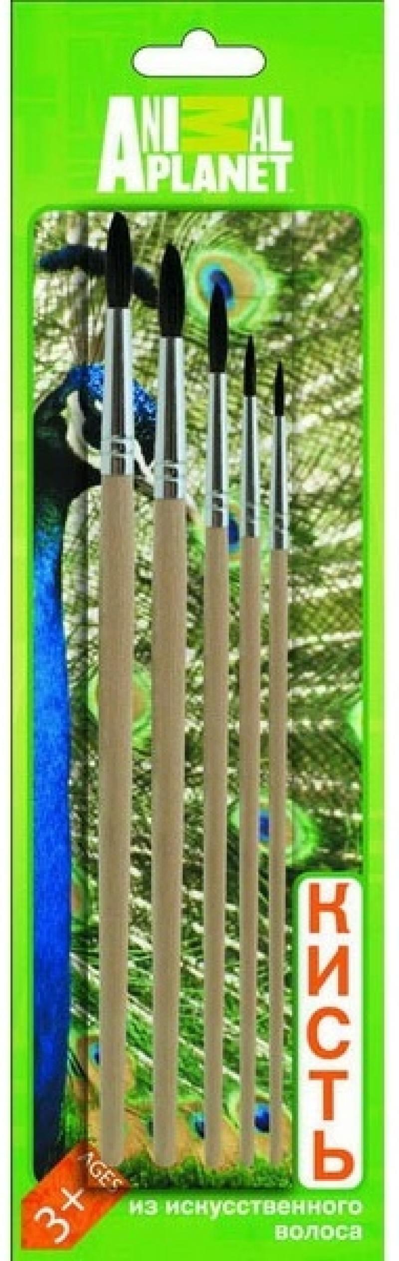 Набор кистей СИНТЕТИЧЕСКИЙ ВОЛОС ANIMAL PLANET, круглые, №1,2,3,4,5, блистер с е/п AP-ABS005I набор кистей action dc comics пони 2 4 6 блистер с е п