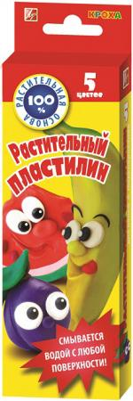 Пластилин Луч растительный КРОХА мягкий со стеком, 5цв.