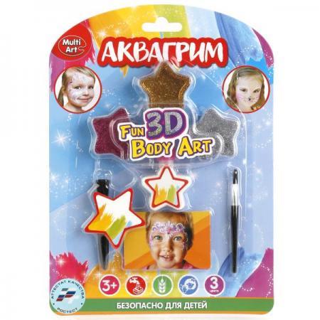 Аквагрим & Тату MultiArt: блестки 3 цвета, 2 кисточки, 2 трафарета для тату на блистере в кор.4*12шт