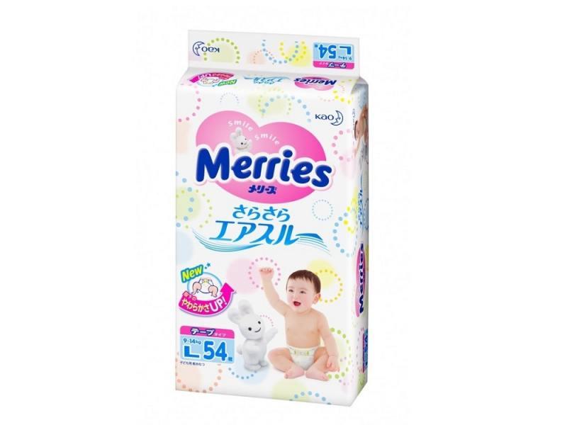Подгузники Merries 9-14 кг. L 54 шт. подгузники merries m 6 11 кг 64 шт