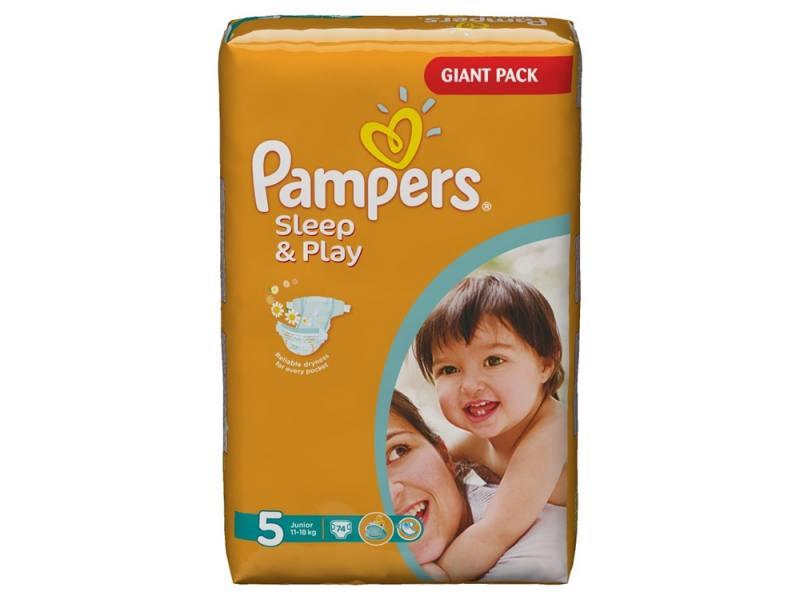 Подгузники Pampers Sleep & Play Junior (11-18 кг) Джайнт Упаковка 74 шт.